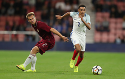 England's Trent Alexander-Arnold gets past Latvia's Vladislavs Sorokins during the 2019 UEFA Euro U21 Qualifying, Group 4 match at the Vitality Stadium, Bournemouth.