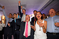 © Licensed to London News Pictures. 23/06/2016. London, UK. Brexit supporters cheer and celebrate results in favour of Leave being returned at Sunderland at a Leave.eu Brexit party in Westminster.  Votes are now counted in the EU referendum after polls closed at 10pm. Photo credit: Ben Cawthra/LNP