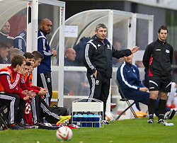NEWPORT, WALES - Thursday, September 25, 2014: Wales' head coach Osian Roberts during the Under-16's International Friendly match against France at Dragon Park. (Pic by David Rawcliffe/Propaganda)