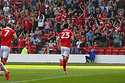 Joe Lolley (23) scores and celebrates during the EFL Sky Bet Championship match between Nottingham Forest and Middlesbrough at the City Ground, Nottingham, England on 22 April 2019.