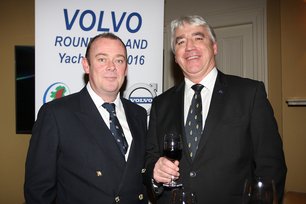 Mark McGibney Sailing Services Manager Royal Irish YC, Paul Sherry Vice-Commodore Royal Irish Yacht Club  at the launch of 18th Volvo 2016 Round Ireland Yacht Race which was held in the Royal Irish Yacht Club.<br />Photo Ann Egan