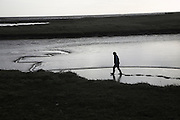 Boy walking in mud and salt marsh, Shingle Street Orford Ness spit, Suffolk, England