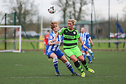 Forest Green's Charlotte King on the ball during the FA Women's Premier League match between Forest Green Rovers Ladies and Brighton Ladies at the Hartpury College, United Kingdom on 24 January 2016. Photo by Shane Healey.