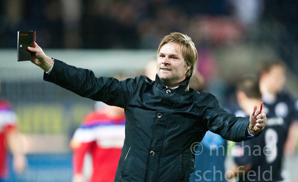 Steven Pressley, Falkirk manager cele at the end..Falkirk 3 v 2 Rangers..©Pic : Michael Schofield.