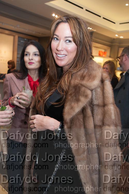 YASMIN MILLS; ALEX MEYERS, Smythson Sloane St. Store opening. London. 6 February 2012.