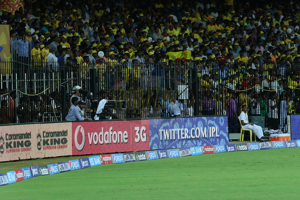 GV of Branding during match 2 of the Pepsi IPL 2015 (Indian Premier League) between The Chennai Superkings and The Delhi Daredevils held at the M. A. Chidambaram Stadium, Chennai Stadium in Chennai, India on the 9th April 2015.<br /> <br /> Photo by:  Saikat Das / SPORTZPICS / IPL