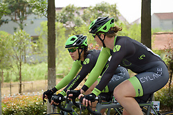 Kirsten Wild and Rachele Barbieri chat at Tour of Chongming Island - Stage 3. A 111.6km road race on Chongming Island, China on 7th May 2017.