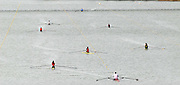 """Seville. SPAIN, 17.02.2007, GV from the """"Puente de la Barqueta"""" [bridge] as scullers prepare for Saturdays heats, of the FISA Team Cup, held on the River Guadalquiver course. [Photo Peter Spurrier/Intersport Images]    [Mandatory Credit, Peter Spurier/ Intersport Images]. , Rowing Course: Rio Guadalquiver Rowing Course, Seville, SPAIN,"""