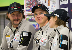 Tomas Kos, Peter Dokl and Andreja Mali at press conference of Slovenia Biathlon team before new season 2010 - 2011, on November 24, 2010, in Emporium, BTC, Ljubljana, Slovenia.  (Photo by Vid Ponikvar / Sportida)