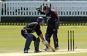 2005 Totesport League, Middlesex Crusader vs Hampshire Hawks at Lords, ENGLAND, 15.05.2005, Hampshires Simon Katich, is caught by keeper Ben Scott of the bowling of Ben Hutton..Photo  Peter Spurrier. .email images@intersport-images...