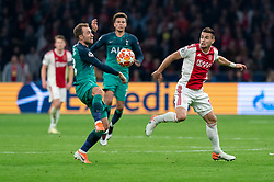 08-05-2019 NED: Semi Final Champions League AFC Ajax - Tottenham Hotspur, Amsterdam<br /> After a dramatic ending, Ajax has not been able to reach the final of the Champions League. In the final second Tottenham Hotspur scored 3-2 / Dusan Tadic #10 of Ajax, Christian Eriksen #23 of Tottenham Hotspur