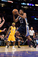 27 March 2007: Guard Rudy Gay of the Memphis Grizzlies shoots a layup against the Los Angeles Lakers during the first half of the Grizzlies 88-86 victory over the Lakers at the STAPLES Center in Los Angeles, CA.
