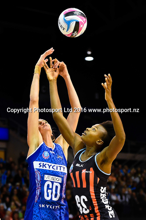 Anna Harrison of the Mystics and Mwai Kumwenda of the Tactix fight for the ball during the ANZ Championship netball game Canterbury Tactixs V Northern Mystics at  Horncastle Arena, Christchurch, New Zealand. 25th April 2016. Copyright Photo: John Davidson / www.photosport.nz