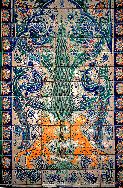 MEXICO, COLONIAL CITIES Puebla; factory for famous Talavera ceramic ware; a detail of tiles used as wall decorations