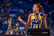 Sunshine Coast's GK: Geva Mentor.<br /> PERTH, AUSTRALIA - AUGUST 26: West Coast Fever vs the Sunshine Coast Lightning during the Suncorp Super Netball Grand Final match from Perth Arena - Sunday 26th August 2018 in Perth, Australia. (Photo by Daniel Carson/dcimages.org/Netball WA)