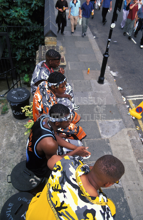 Boys in camouflage outfits. Notting Hill Carnival, London, UK 1998