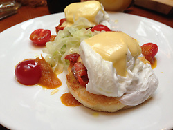 Smoked Salmon Eggs Benedict, SV Maple Leaf, Gulf Islands, British Columbia, Canada