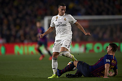February 6, 2019 - Barcelona, Barcelona, Spain - Lucas Vazquez of Real Madrid  and Lenglet of Barcelona battle for the ball during the Spanish Cup (King's cup), first leg semi-final match between FC Barcelona and  Real Madrid at Camp Nou stadium on February 6, 2019 in Barcelona, Spain. (Credit Image: © Jose Breton/NurPhoto via ZUMA Press)