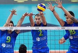 Dejan Vincic, Alen Pajenk, Klemen Cebulj during volleyball match between National teams of Netherlands and Slovenia in Playoff of 2015 CEV Volleyball European Championship - Men, on October 13, 2015 in Arena Armeec, Sofia, Bulgaria. Photo by Ronald Hoogendoorn / Sportida