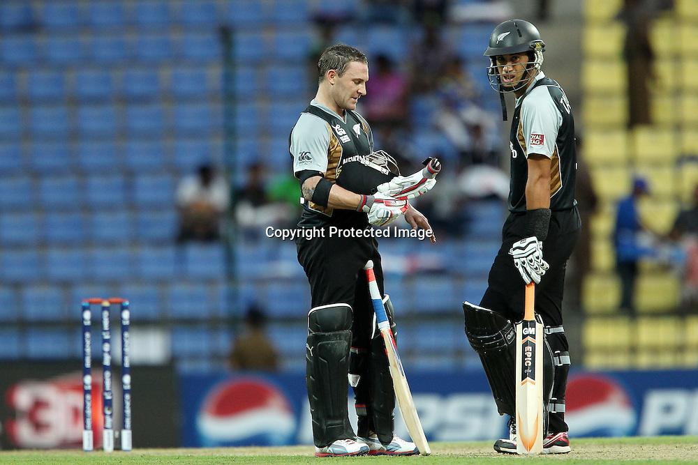 Brendon McCullum and Ross Taylor (Captain) during the ICC World Twenty20 Pool match between New Zealand and Bangladesh held at the  Pallekele Stadium in Kandy, Sri Lanka on the 21st September 2012<br /> <br /> Photo byRon Gaunt/SPORTZPICS/PHOTOSPORT