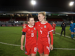 NEWPORT, WALES - Thursday, April 4, 2019: Wales' Angharad James (L) and Sophie Ingle after an International Friendly match between Wales and Czech Republic at Rodney Parade. The game ended in a 0-0 draw. (Pic by David Rawcliffe/Propaganda)