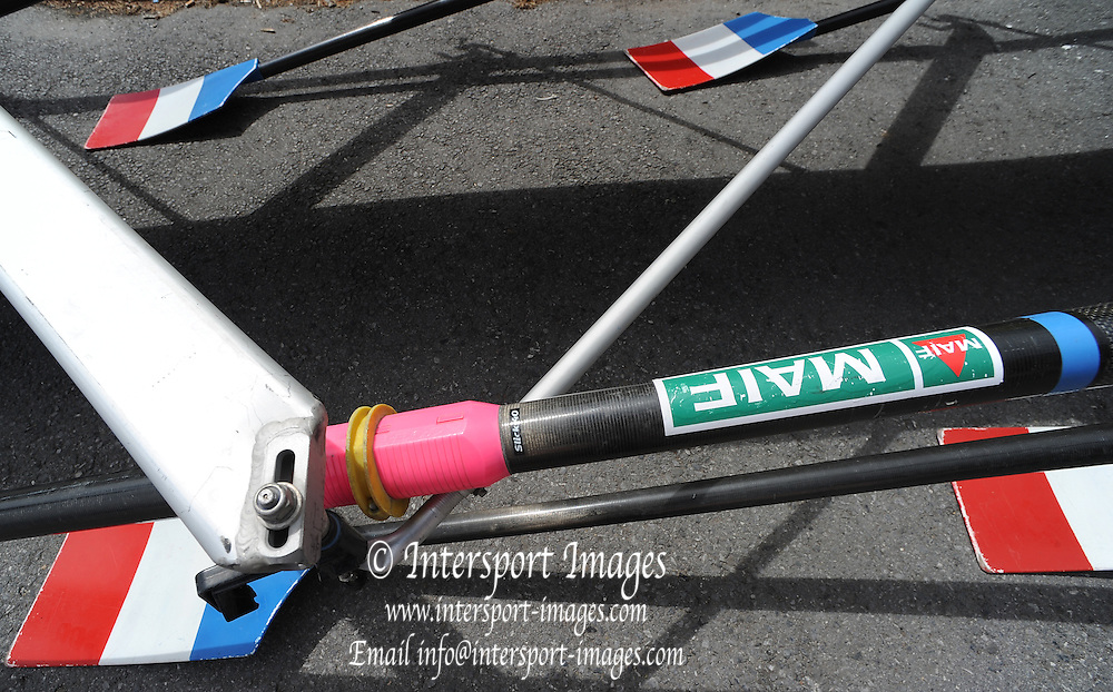 Essen, GERMANY.   Equipment, FRA M4X, French Quad, on a low rack, Oars, Riggers, Gates.   97 International Hugelregatta, Baldeneysee,  Friday  10/05/2013   [Mandatory Credit. Peter Spurrier/Intersport Images]