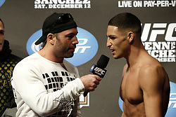 Dec 12, 2009; Memphis, TN, USA; Diego Sanchez speaks to Joe Rogan after weighing in for his upcoming bout against UFC Lightweight Champion BJ Penn at UFC 107.  The two will meet at the FedEx Forum in Memphis, TN.