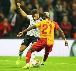 February 14, 2019 - Istanbul, Turkey - Benfica's Argentinian midfielder Franco Cervi (L) fights for the ball with Galatasaray's Henry Onyekuru during the UEFA Europa League round of 32 first leg football match between Galatasaray AS and SL Benfica at the Turk Telekom stadium, in Istanbul, on February 14, 2019. (Credit Image: © Mahmut Burak Burkuk/Depo Photos via ZUMA Wire)