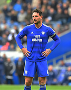 Sean Morrison (4) of Cardiff City during the Premier League match between Cardiff City and Chelsea at the Cardiff City Stadium, Cardiff, Wales on 31 March 2019.