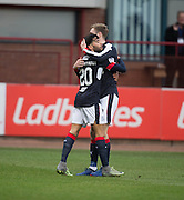 Dundee&rsquo;s Kevin Holt congratulates Faissal El Bakhtaoui after the opener  - Dundee v St Johnstone in the Ladbrokes Scottish Premiership at Dens Park, Dundee - Photo: David Young, <br /> <br />  - &copy; David Young - www.davidyoungphoto.co.uk - email: davidyoungphoto@gmail.com