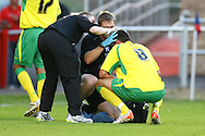 Dagenham - Thursday July 22nd 2010:  ? of norwich needs treatment to a head injury during the Pre Season Friendly match at the London Borough Of Barking & Dagenham Stadium, Dagenham. (Pic by Paul Chesterton/Focus Images)