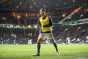 Dundee substitute Jesse Curran warms up at Celtic Park- Celtic v Dundee in the Ladbrokes Scottish Premiership at Celtic Park, Glasgow. Photo: David Young<br /> <br />  - © David Young - www.davidyoungphoto.co.uk - email: davidyoungphoto@gmail.com