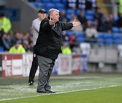 Caption Correction * Rotherham United Manager, Steve Evans gestures towards the Referee   Andy D'Urso - Photo mandatory by-line: Alex James/JMP - Mobile: 07966 386802 - 06/12/2014 - SPORT - Football - Cardiff - Cardiff City Stadium  - Cardiff City v Rotherham United  - Football