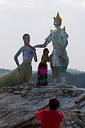 Hat Sai Kaew. Mermaid and traditional Thai statues.