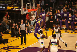February 27, 2019 - Los Angeles, CA, U.S. - LOS ANGELES, CA - FEBRUARY 27: Los Angeles Lakers Forward LeBron James (23) goes up for a dunk during the first half of the New Orleans Pelicans versus Los Angeles Lakers game on February 27, 2019, at Staples Center in Los Angeles, CA. (Photo by Icon Sportswire) (Credit Image: © Icon Sportswire/Icon SMI via ZUMA Press)