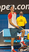 Bernard Tomic (AUS) faced R. Nadal (ESP) in day two play of the 2014 Australian Open at Melbourne's Rod Laver Arena. Tomic forfeited the match here blaming leg pain giving Nadal the win. One set was completed during match play with Nadal up 6-4.
