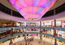 View of interior atrium  of busy Dubai Mall in United Arab Emirates UAE