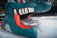 KELOWNA, CANADA - JANUARY 10: Rourke Chartier #14 of Kelowna Rockets enters the ice against the Medicine Hat Tigers on January 10, 2015 at Prospera Place in Kelowna, British Columbia, Canada.  (Photo by Marissa Baecker/Shoot the Breeze)  *** Local Caption *** Rourke Chartier;