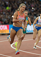 Athletics - 2017 IAAF London World Athletics Championships - Day Five, Evening Session<br /> <br /> 200m Women Round 1<br /> <br /> Dafne Schippers (Netherlands) rounds the bend at the London Stadium<br /> <br /> COLORSPORT/DANIEL BEARHAM