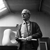 Henry Moore, sculptor (1898-1986) at home in his studio in Great Hadam Hertfordshire 1973