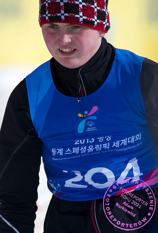 Kamil Bajko Polish athlete with intellectual disability competes in Finals of Cross Country 1000 meters Race during 2013 Special Olympics World Winter Games PyeongChang at Cross Country Skiing Venue on February 4, 2013...South Korea, PyeongChang, February 4, 2013..Picture also available in RAW (NEF) or TIFF format on special request...For editorial use only. Any commercial or promotional use requires permission...Photo by © Adam Nurkiewicz / Mediasport