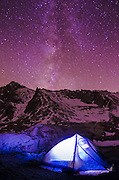 Tent at night under the Milky Way, John Muir Wilderness, California USA