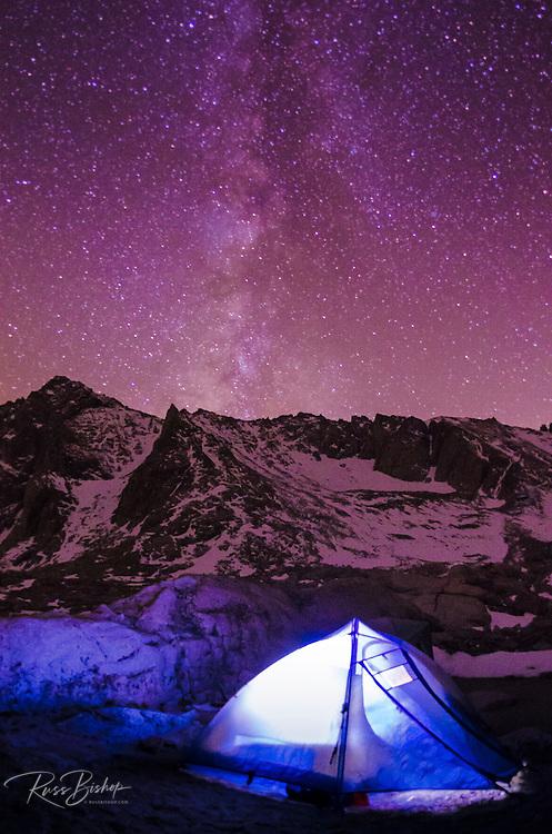 Tent at night under the Milky Way, John Muir Wilderness, California USA