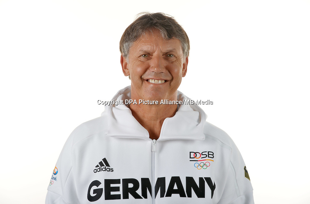 Lutz Buschkow Hoffmann poses at a photocall during the preparations for the Olympic Games in Rio at the Emmich Cambrai Barracks in Hanover, Germany. July 07, 2016. Photo credit: Frank May/ picture alliance. | usage worldwide