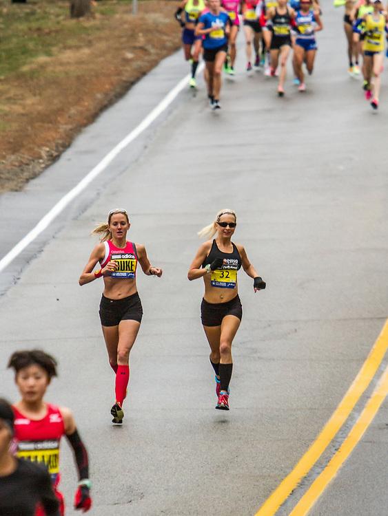Boston Marathon: elite women's field in first mile of race