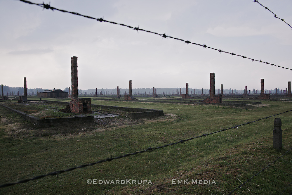 Remaining buildings and chimneys at the ruins of Auschwitz 2 Birkenau. The largest of the Nazi Germany extermination camps. Located in then occupied Poland.