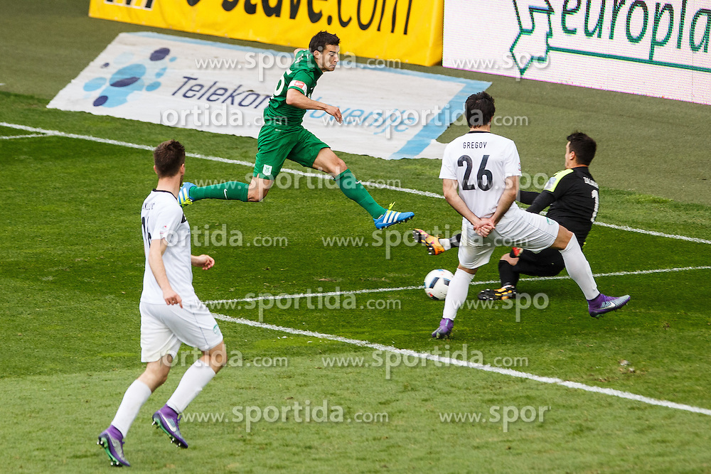 Hrvoje Cale #25 of NK Olimpija Ljubljana and Sime Gregov #26 of NK Krsko & Marko Zalokar #1 of NK Krsko during football match between NK Olimpija Ljubljana and NK Krsko, 31th Round of Prva Liga Telekom Slovenije 2015/16, on April 23, 2016, in Sports park Domzale, Domzale, Slovenia. (Photo by Grega Valancic / Sportida)