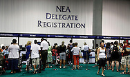 San Diego,CA - NEA 2009 in San Diego. Delegates pick up credentials at the NEA 2009 in San Diego, CA Wednesday.( Photo/ Scott Iskowitz/ RA TODAY)