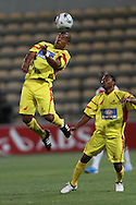 CAPE TOWN, SOUTH AFRICA - 11 FEBRUARY 2011, Orlin Powell of Santos gets up high to header during the Absa Premiership match between Santos and Ajax Cape Town held at Athlone Stadium in Cape Town, South Africa..Photo by: Shaun Roy/Sportzpics
