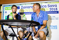 Andrea Arnaboldi (ITA) and Gasper Bolhar at press corner after the 1st Semifinal match at Day 8 of ATP Challenger Zavarovalnica Sava Slovenia Open 2018, on August 10, 2018 in Sports centre, Portoroz/Portorose, Slovenia. Photo by Vid Ponikvar / Sportida